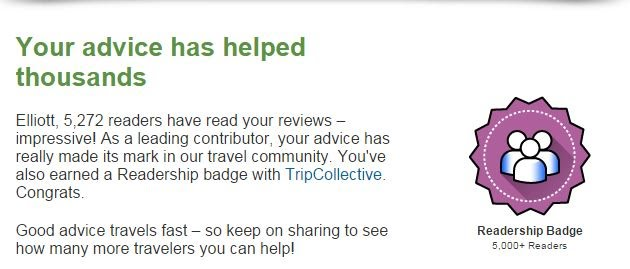 readership badge on Trip Advisor
